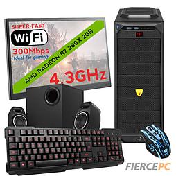 Fierce VENUS Quad-Core Gaming PC Bundle, Athlon X4 860K 4.3GHz, R7 260X 2GB, 8GB, Wifi PC