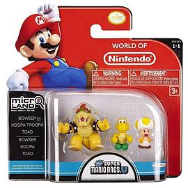 Mario Bros U Micro Figure 3 Pack - Bowser/Koopa/Toad Figurines and Sets