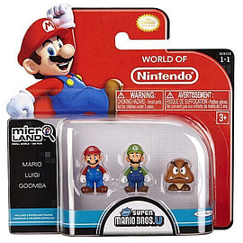 Mario Bros U Micro Figure 3 Pack - Mario, Luigi and Goomba Figurines and Sets
