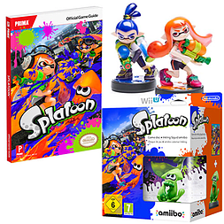 Splatoon with Inkling Squid amiibo, Inkling Boy amiibo, Inkling Girl amiibo & Splatoon Strategy Guide Wii U