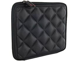 4world Quilted Tablet Sleeve And Lock For 9.7 Inch With Red Soft Inner, Black Tablet
