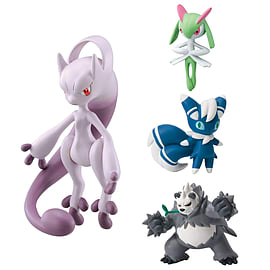 Pokemon 4 Pack Mega Mewtwo Y, Meowstic, Pangoro, Kirlia Figurines and Sets