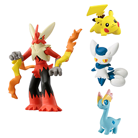 Pokemon 4 Pack Mega Blaziken, Meowstic, Pikachu, Amaura Figurines and Sets
