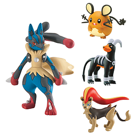 Pokemon 4 Pack Mega Lucario, Pyroar, Dedenne, Houndoom Figurines and Sets