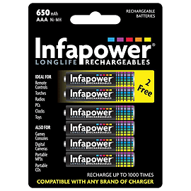 Infapower Aaa 650mah Ni-mh Rechargeable Batteries, 4 Pack + 2 Extra Free (b011) Multi Format and Universal