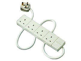 Masterplug 4-Way Compact Power Socket with 2m Extension Lead (White) Multi Format and Universal
