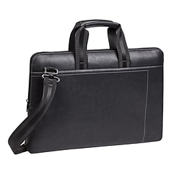 Rivacase 8920 Slim Compact Faux Leather Bag For 13.3 Inch Laptops, Black PC