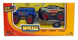 New Bright 5 inch 4x4 Twin Pack - H2 Hummer (Blue) + Ford F-350 (Silver) Scaled Models