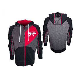 Destiny Titan Extra Large Full Length Zipper Hoodie With Embroidery, Black/red/grey (hd208802des-xl) Clothing