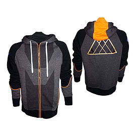 Destiny Warlock Small Full Length Zipper Hoodie With Embroidery, Black/orange/grey (hd208803des-s) Clothing
