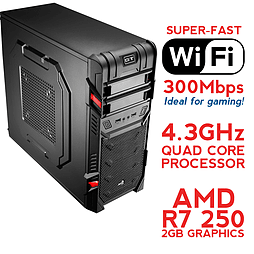 Fierce SATURN Overclocked Quad-Core Gaming PC (Athlon X4 860K 4.3GHz, R7 250 2GB, 8GB, Wifi) PC
