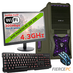 Fierce SATURN Quad-Core Gaming PC Bundle, Athlon X4 860K 4.3GHz, R7 250 2GB, 8GB, Wifi PC