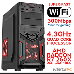 Fierce VENUS Overclocked Quad-Core Gaming PC (Athlon X4 860K 4.3GHz, R7 260X 2GB, 8GB, Wifi) PC