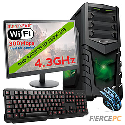 Fierce VENUS Quad-Core Gaming PC Bundle, Athlon X4 860K 4.3GHz, R7 260X 2GB, 8GB, Wifi PC