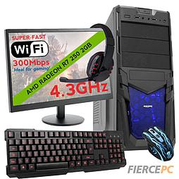 Fierce SATURN Quad-Core Gaming PC Bundle, Athlon X4 860K 4.3GHz, R7 250 2GB, 8GB, Wifi PC