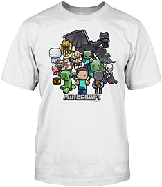 Boys Minecraft T-shirt | Mine Craft Tshirt | Official | PARTY | Youth | 7-8 | WHITE Clothing