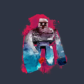 Boys Minecraft T-shirt | Mine Craft Tshirt | Official | IRON GOLEM | Youth | 7-8 | NAVY Clothing