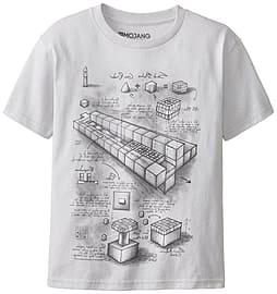 Boys Minecraft T-shirt | Mine Craft Tshirt | Official | TNT BLUEPRINT | Youth | 7-8 | GREY Clothing