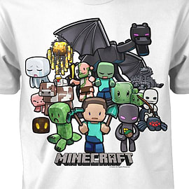 Boys Minecraft T-shirt | Mine Craft Tshirt | Official | PARTY | Youth | 12-13 | WHITE Clothing