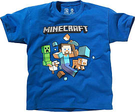Boys Minecraft T-shirt | Mine Craft Tshirt | Official | RUN AWAY | Youth | 5-6 | ROYAL BLUE Clothing