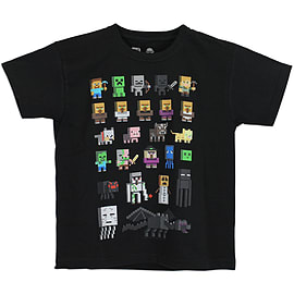 Boys Minecraft T-shirt | Mine Craft Tshirt | Official | SPRITES | Youth | 7-8 | BLACK Clothing