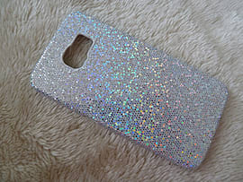 DIA SILVER GLITTER HARD CASE COVER TO FIT SAMSUNG GALAXY S6 (DIS SILVER) Mobile phones