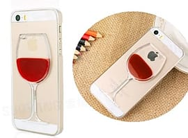 DIA RED WINE MOVING LIQUID HARD CASE COVER FOR IPHONE 4 (X1 CLEAR/RED) Mobile phones