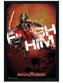 Mortal Kombat Black Wooden Framed Finish Him! Maxi Poster 61x91.5cm Posters