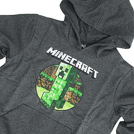 Boys Minecraft Hoodie Official | CREEPER RETRO | Youth | 5-6 | DARK GREY | L/SLEEVE Clothing