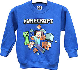 Boys Minecraft Sweater | Mine Craft Jumper | Official | RUN AWAY | Youth 7-8 | ROYAL BLUE L/SLEEVE Clothing