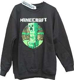 Boys Minecraft Sweater | Mine Craft Jumper | Official | CREEPER RETRO | Youth 9-10 | BLACK L/SLEEVE Clothing