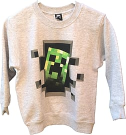 Boys Minecraft Sweater | Official | CREEPER INSIDE | Youth | 5-6 | GREY | L/SLEEVE Clothing