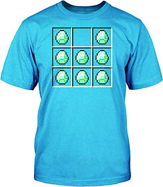 Boys Minecraft T-shirt | Mine Craft Tshirt | Official | DIAMOND CRAFTING | Youth 14-15 | LIGHT BLUE Clothing