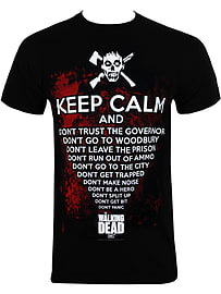The Walking Dead Keep Calm Zombies Black Men's T-shirt: Small (Mens 36 - 38) Clothing