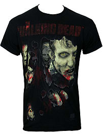 The Walking Dead Zombie Rip Black Men's T-shirt: Small (Mens 36 - 38) Clothing