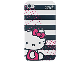 Hello Kitty Iphone 4/4s Case, Striped Black and White Mobile phones