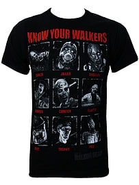 The Walking Dead Know Your Walkers Black Men's T-shirt: Large (Mens 40- 42) Clothing