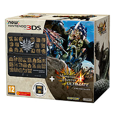 New Nintendo 3DS (Black) with Monster Hunter 4 and Coverplate Nintendo 3DS