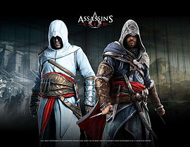 Assassins Creed Wallscroll, Altair and Ezio In Blackroom Posters