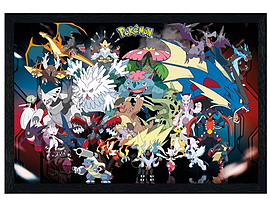 Pokemon Black Wooden Framed Mega Evolutions PKMN Maxi Poster 91.5x61cm Posters