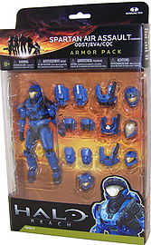 Halo Reach: Series 4 Spartan Air Assault and 3 Sets of Amour (Team Blue) Action Figure Figurines and Sets