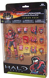 Halo Reach: Series 4 Spartan Grenadier and 3 Sets of Armour (Team Red) Action Figure Figurines and Sets