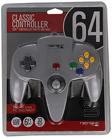 Nintendo 64 Classic USB Enabled Controller (Wired) PC and MAC, Grey Retro Consoles