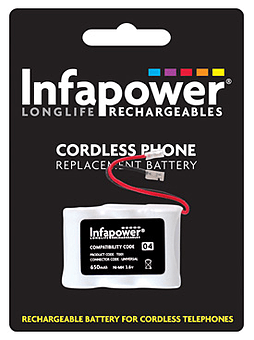 Infapower 3x 2/3AA Ni-Mh 650mAH Cordless Phone Replacement Batteries PC