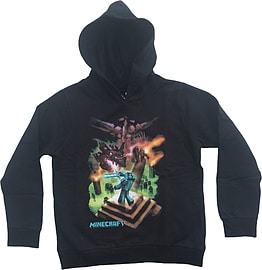 Boys Minecraft Hoodie Mine Craft Hoody Official ENDERDRAGON Youth 5-6 BLACK L/SLEEVE Clothing