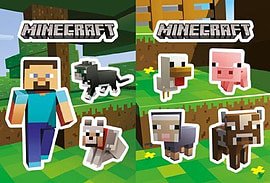 Official Jinx! Minecraft Sticker Pack 2 Sheet Set - Steve with Pets & Baby Animals Clothing
