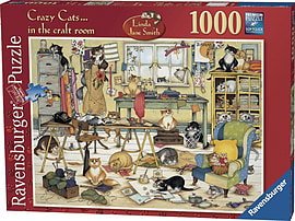 Crazy Cats In The Craft Room Puzzle (1000 Pieces) Traditional Games