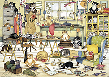 Crazy Cats In The Craft Room Puzzle (1000 Pieces) screen shot 1