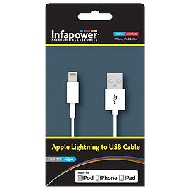 Infapower Apple Lightning To Usb 2.0 Cable For Ipod, Iphone and Ipad, 1 Metre, White (p011) Tablet