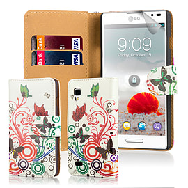 Design Book PU Leather Wallet Case For LG Optimus L9ii - Colour Butterfly Mobile phones